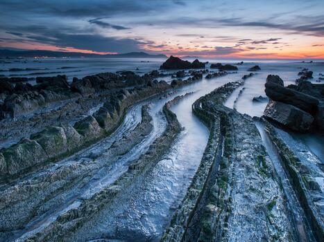 Фото бесплатно закат, скалы, обои береговая линия