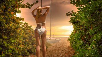 Фото бесплатно блондинка, море, пляж