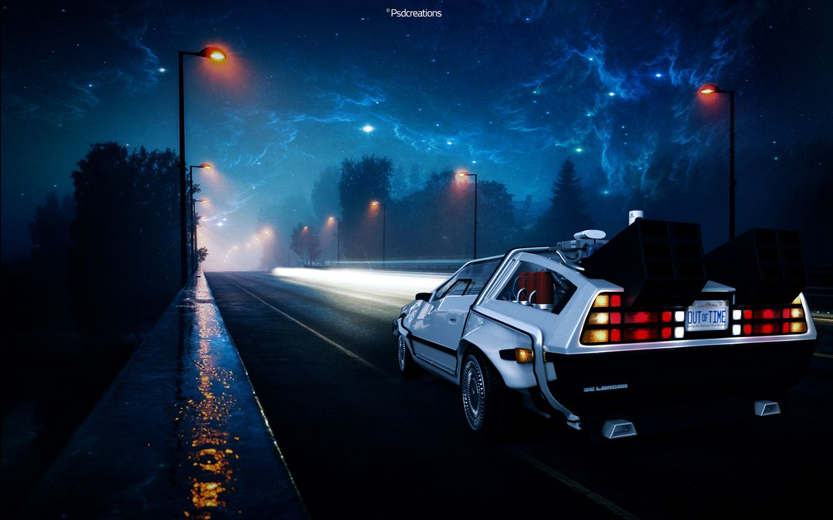 Photo back to the future street night - free pictures on Fonwall