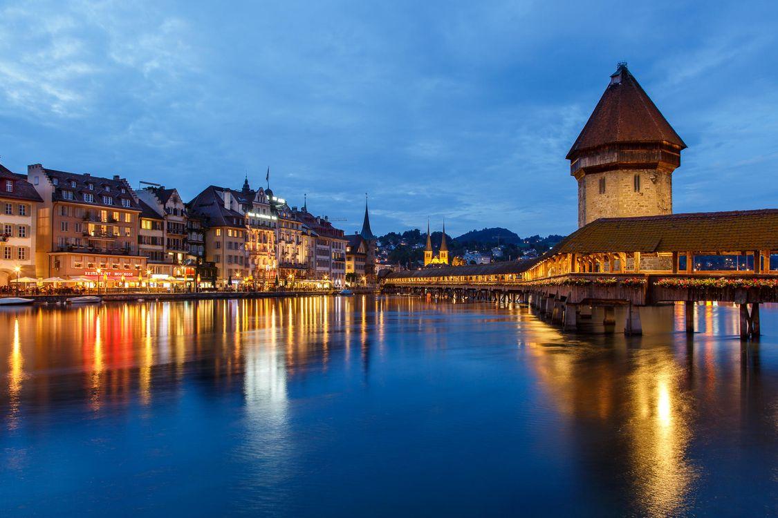Фото бесплатно Chapel Bridge, Lucerne, Часовенный мост - на рабочий стол