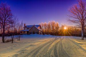 Бесплатные фото Новый Брансвик,Канада,зима,снег,Восход,закат,дом