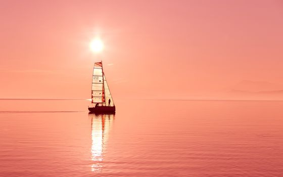Фото бесплатно парусник, солнечный свет, горизонт