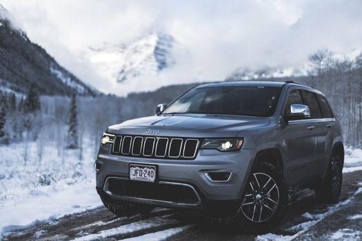 Обои jeep,grand cherokee,авто,суп,снег,вид сбоку,auto,suv,snow,side view