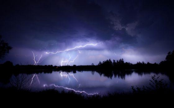 Заставки молнии, темная погода, ночь
