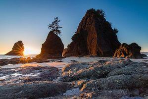 Бесплатные фото Солнце на пляже Ши Ши,Олимпийский национальный парк,закат,море,скалы,берег,пейзаж