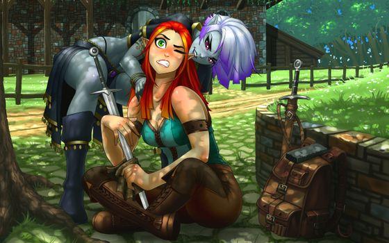 Заставки фэнтези девушка, эльфийка, меч