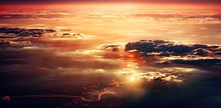 Заставки за облаками, путь, закат
