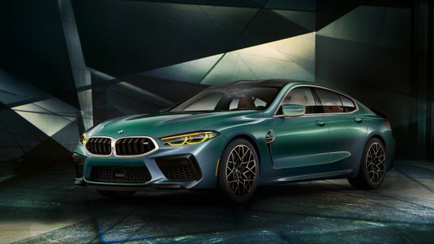 Photo free BMW M8 Gran Coupe, green, luxury cars
