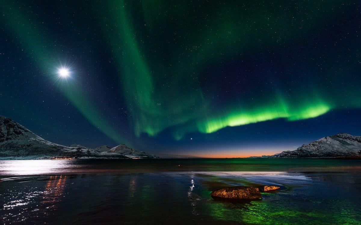 Фото бесплатно полярное сияние, северное сияние природа, пейзаж - на рабочий стол