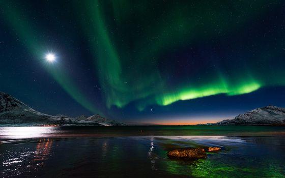 Фото бесплатно полярное сияние, северное сияние природа, пейзаж