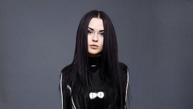 Заставки брюнетка, черные волосы, модель