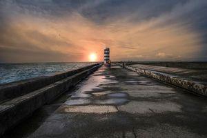 Бесплатные фото закат,море,маяк,пейзаж