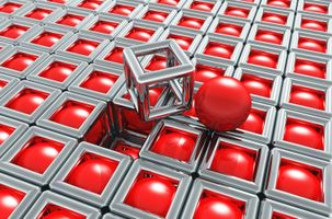 Red balls with a cube