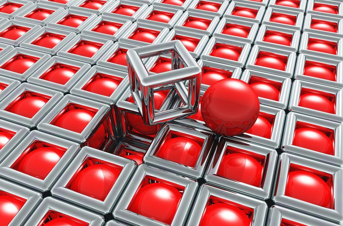 Красные шарики с кубе · бесплатное фото