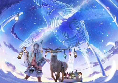 Заставки аниме Девочка, олень, фантастический мир