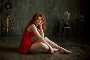 Photo free redhead, red dress, girl