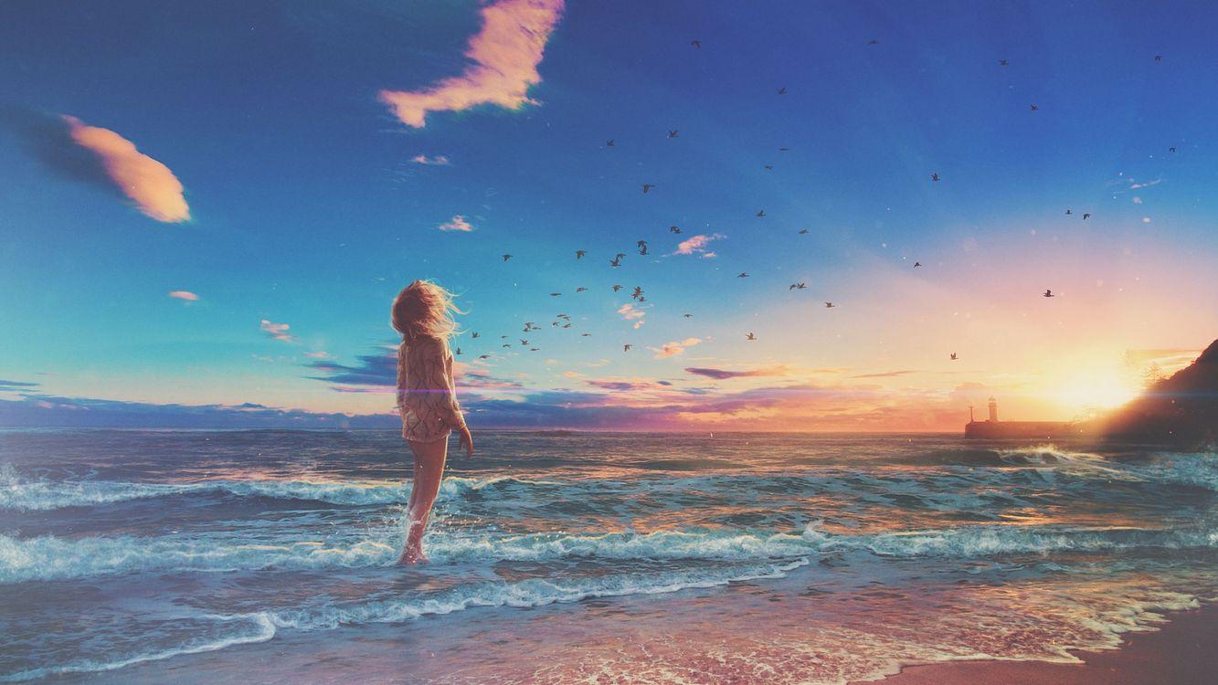 Фото бесплатно закат, море, берег, птицы, девушка, пейзаж, пейзажи