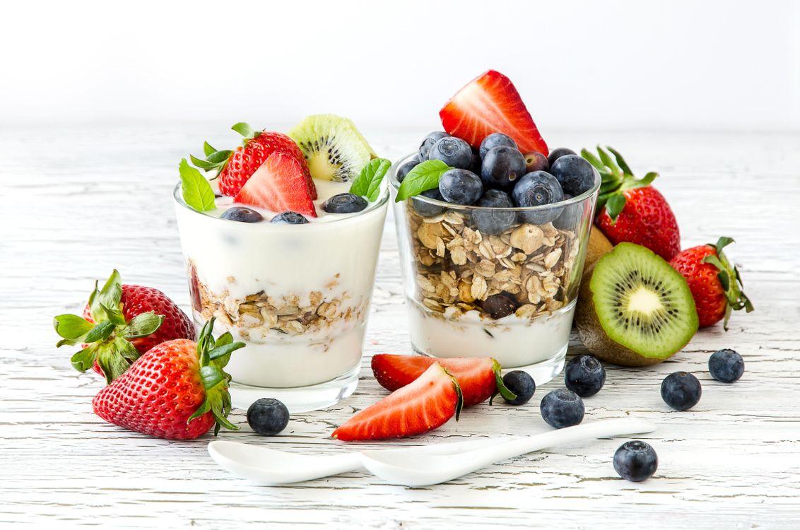 Фото бесплатно завтрак, овсянка, йогурт - на рабочий стол