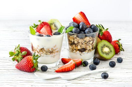 Фото бесплатно завтрак, овсянка, йогурт
