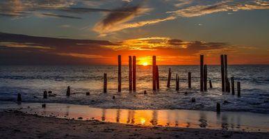 Photo free sunset, sea, shore