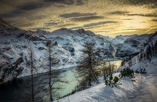 Заставки Альпы, Восход, озеро