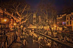 Бесплатные фото Утрехт,Нидерланды,ночь,огни,иллюминация