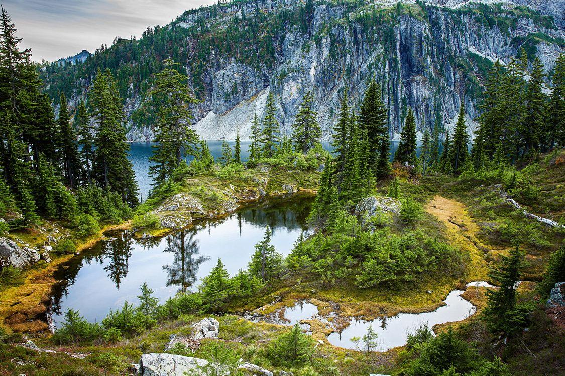 Фото бесплатно Снежное озеро, Snow Lake, Arkansas, озеро, горы, деревья, пейзаж - на рабочий стол