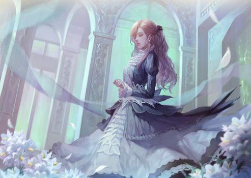 Заставки аниме девушка, блондинка, платье