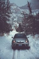 Заставки авто, зима, вид спереди, снег, деревья, auto, winter
