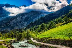 Фото бесплатно река, горы, холмы
