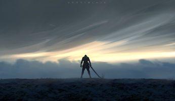 Бесплатные фото WLOP,Призрачный клинок,воин,люди,фэнтези,меч,произведения искусства