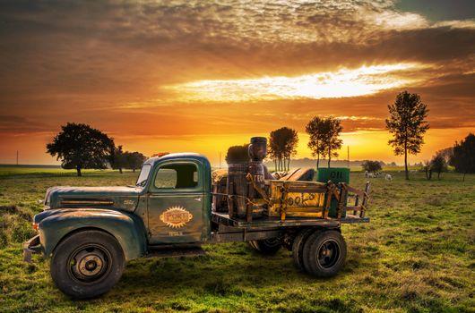 Photo free auto, antique, sunrise and sunset