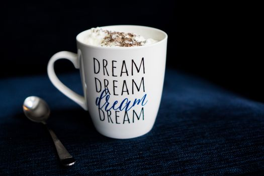 Photo free cup, inscription, cream