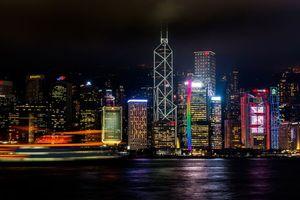 Фото бесплатно hong kong, небоскребы, ночь