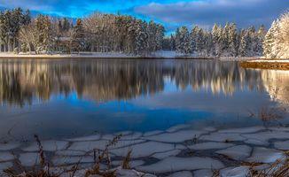 Заставки зима, закат солнца, озеро