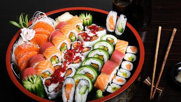 Photo free food, plate, sushi