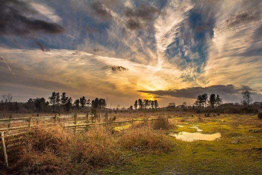 Фото бесплатно закат, поле, лужа