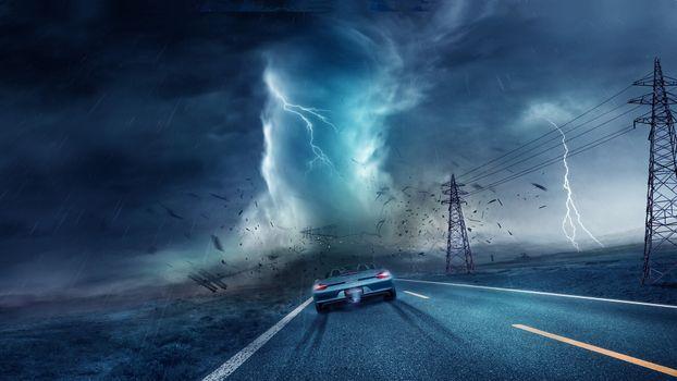 Фото бесплатно дорога, молния, автомобиль
