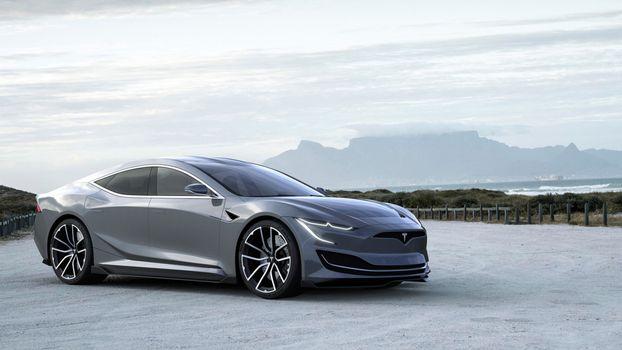 Photo free Tesla Model S, coupe, silvery