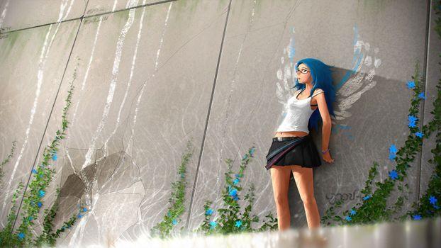 Заставки аниме, аниме девушка, Mini Skirt
