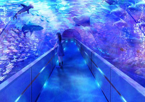 Photo free girl, anime, aquarium