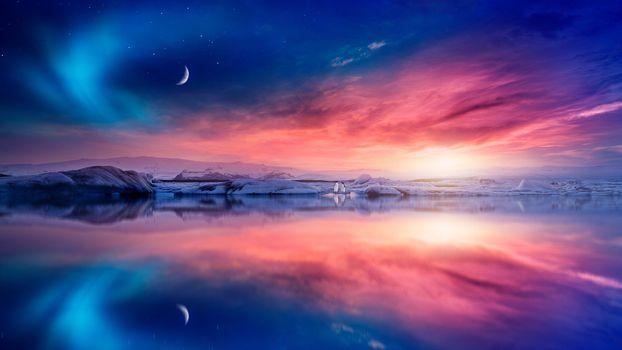 Photo free Antarctica, sunset, sea