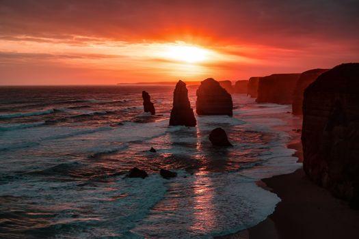 Фото бесплатно побережье, закат, природа