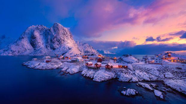 Photo free sea, houses, Lofoten Islands