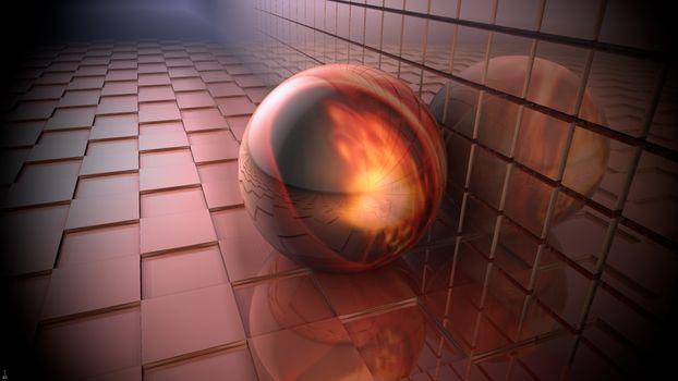 Фото бесплатно шар, кубическая плоскость, отражение