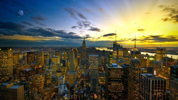 Photo free lights, sunset, city