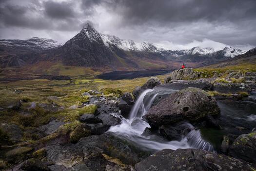 Photo free lonely man, stream, snowline