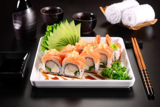 Photo free sushi, vegetables, sticks