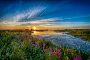 Фото бесплатно закат солнца, река, берег