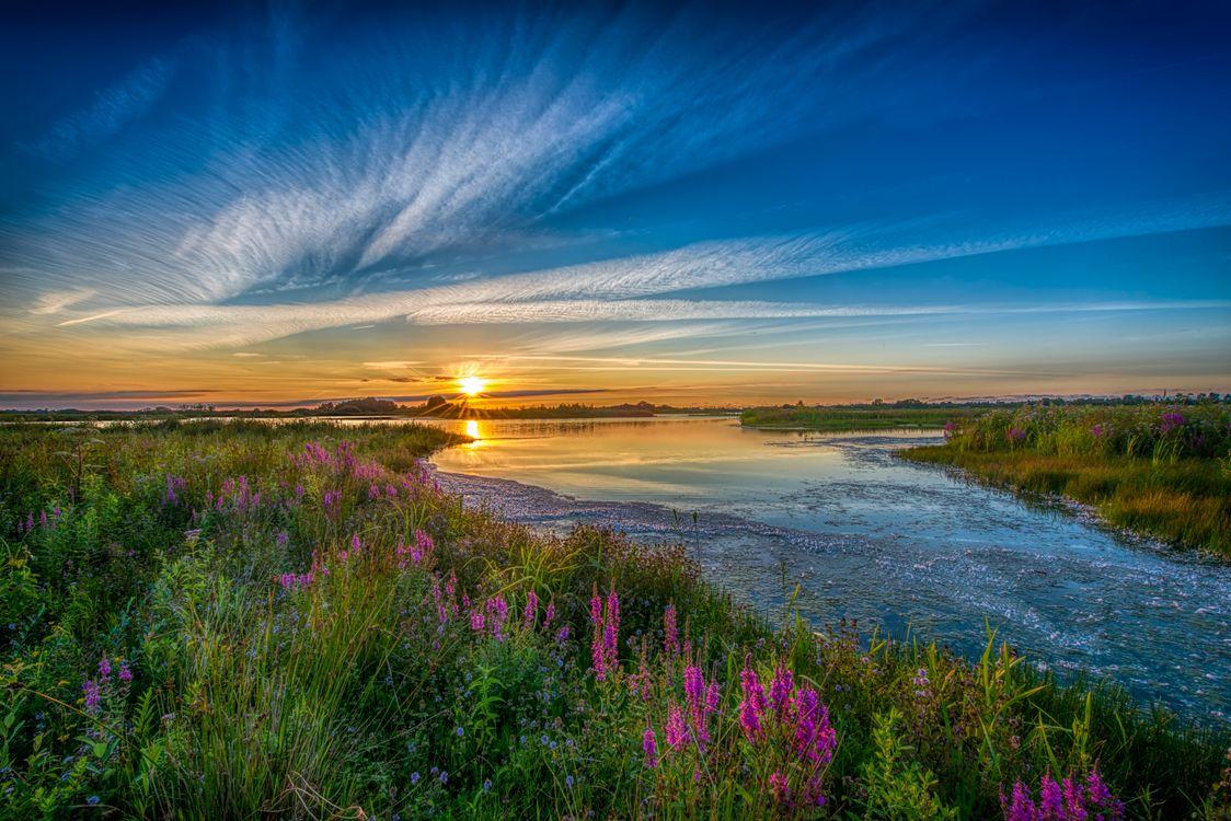 Фото бесплатно закат солнца, река, берег - на рабочий стол
